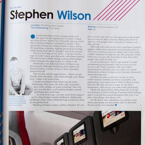 Steves ideas features in digital arts magazine